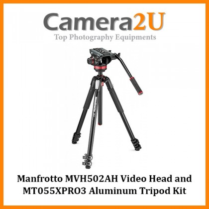 Manfrotto MVH502AH Video Head and MT055XPRO3 Aluminum Tripod Kit