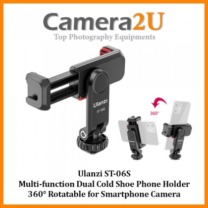 READY STOCK Ulanzi ST-06S ST06S Multi-function Dual Cold Shoe Phone Holder 360° Rotatable for Smartphone Camera