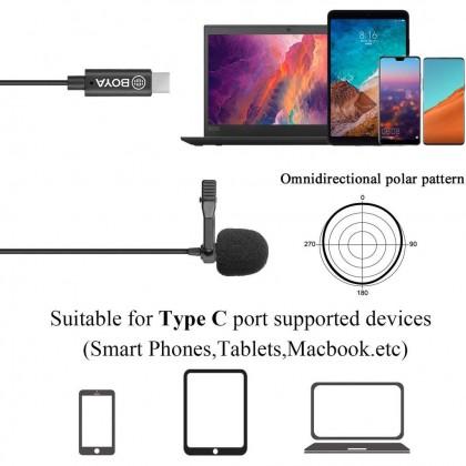 READY STOCK Boya BY-M3 BYM3 USB Type-C Omnidirectional Lavalier Microphone